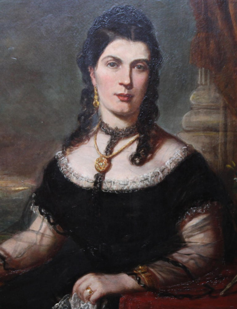 A fine huge oil on canvas which dates to 1877. It was painted in Edinburgh by John Horsburgh, the noted Scottish portrait artist who also had a photographic studio in the late Victorian period. It is a very large period oil painting portrait of an