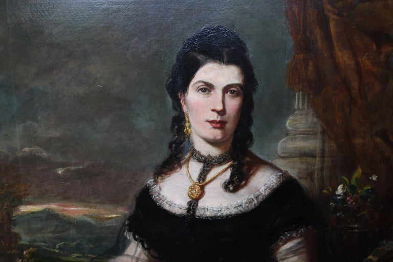 Portrait of a Lady - Scottish art Victorian oil painting Edinburgh society lady For Sale 1