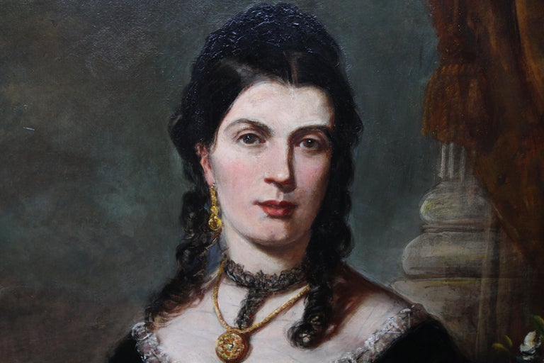 Portrait of a Lady - Scottish art Victorian oil painting Edinburgh society lady For Sale 2