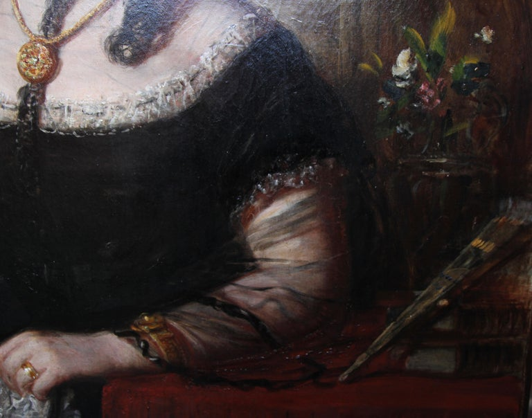 Portrait of a Lady - Scottish art Victorian oil painting Edinburgh society lady For Sale 4