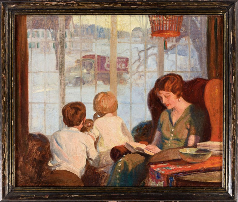 Mother and Children on a Snowy Day - Painting by John Howitt