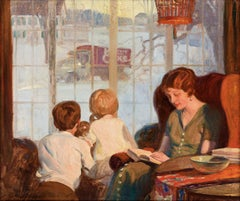 Mother and Children on a Snowy Day