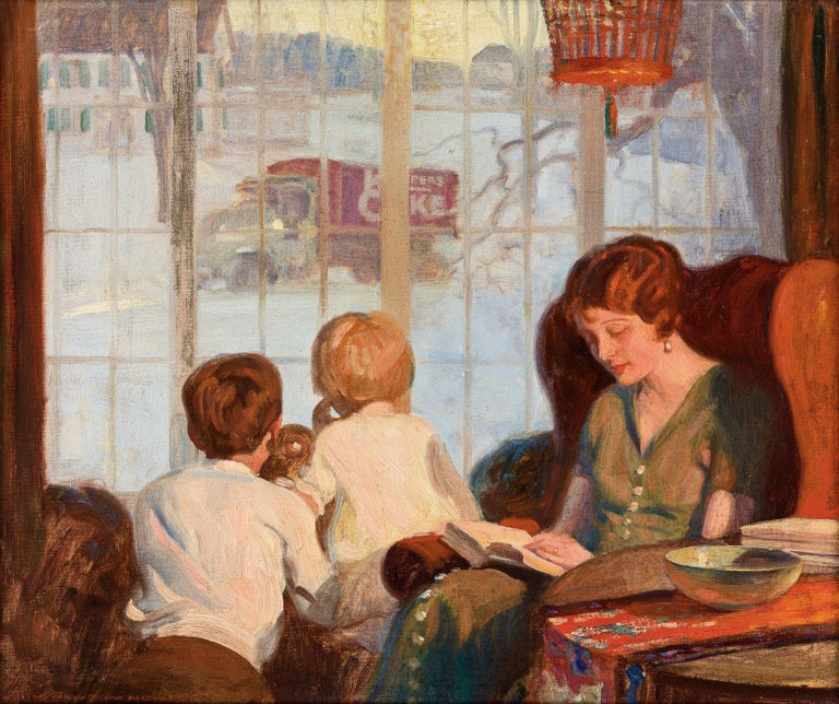 John Howitt Figurative Painting - Mother and Children on a Snowy Day