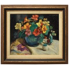 John Hubbard Rich Oil Floral Still Life Nasturtiums