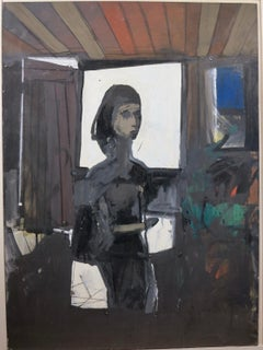Girl in Window (Abstract Expressionist painting)