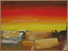 John Hultberg, Twilight of the Iron Horse, oil on paper on board, 1960
