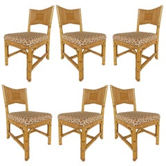 John Hutton Donghia Rattan Dining Chairs Set with Cowtan & Tout Fabric