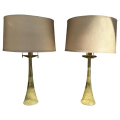 John Hutton for Donghia Pair of Citrine Italian Glass Lamps with Custom Shades