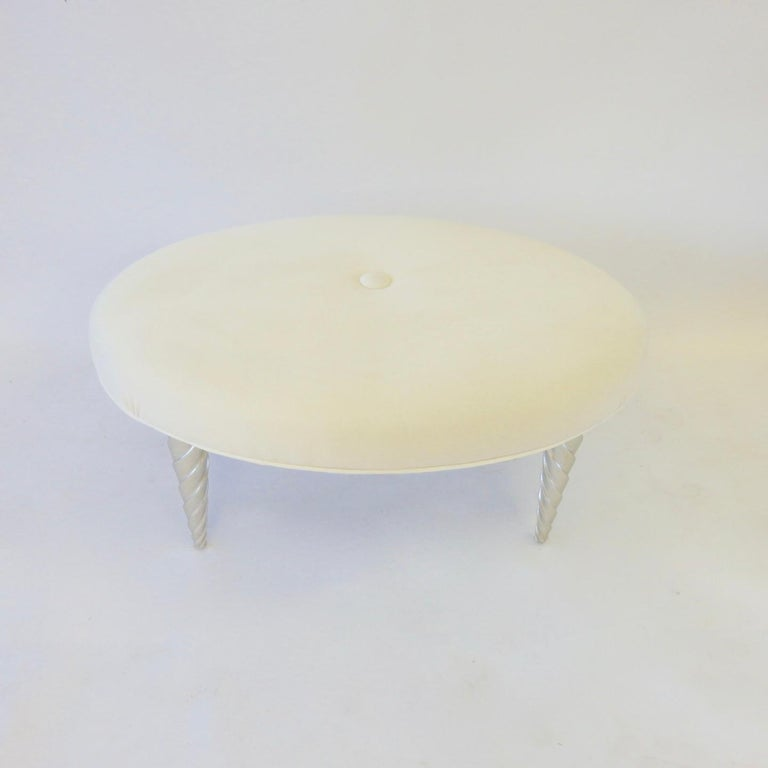 Mid-Century Modern John Hutton for Donghia Ultra Suede Covered Ottomans with Silver Leaf Legs For Sale