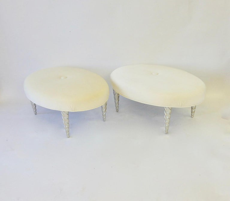 American John Hutton for Donghia Ultra Suede Covered Ottomans with Silver Leaf Legs For Sale