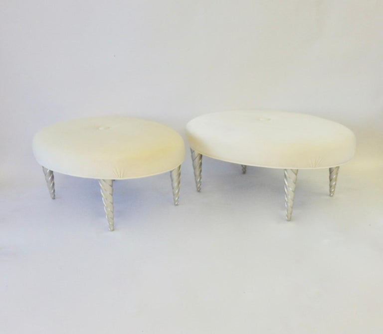 John Hutton for Donghia Ultra Suede Covered Ottomans with Silver Leaf Legs In Excellent Condition For Sale In Ferndale, MI