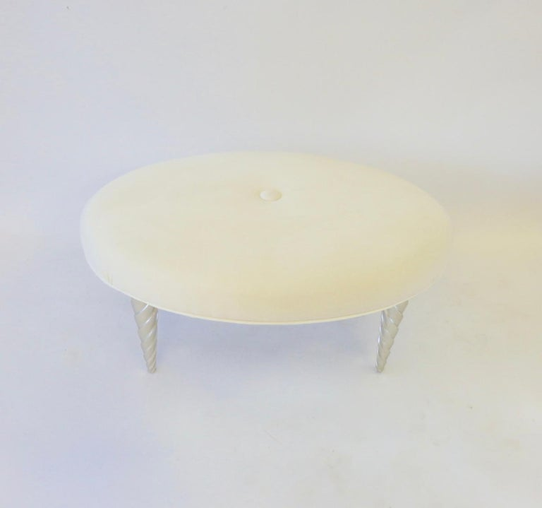 John Hutton for Donghia Ultra Suede Covered Ottomans with Silver Leaf Legs For Sale 2