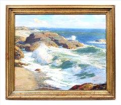 Antique American Impressionist Irish Oil Painting Coastal Ocean Original Gold