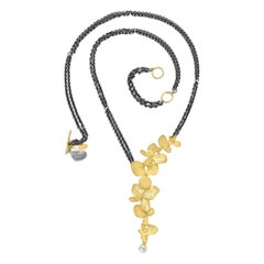 John Iversen Gold Hydrangea Pearl Drop Double Oxidized Silver Chain Necklace