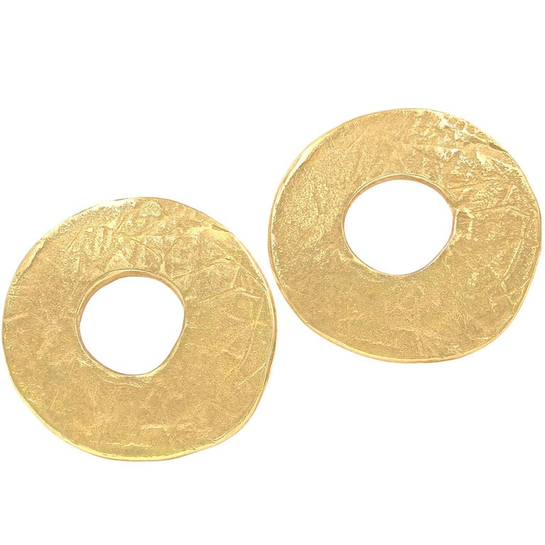 John Iversen Handmade Gold Moon Stud Earrings