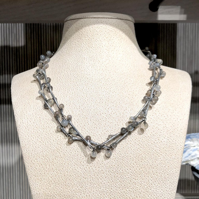 Artist John Iversen Labradorite and Moonstone Oxidized Silver Long Willow Necklace For Sale