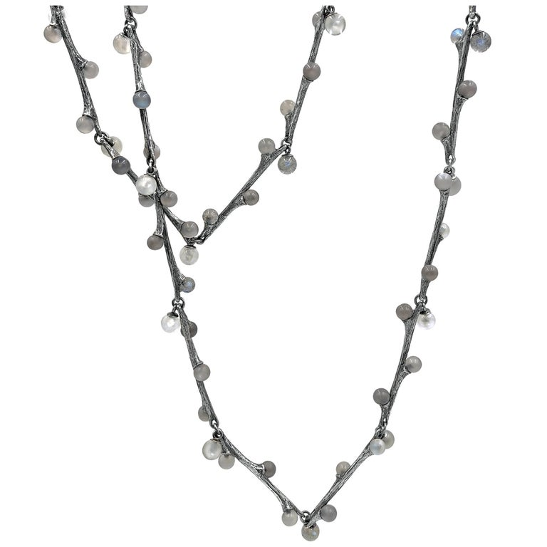 b03b865a0 John Iversen Labradorite and Moonstone Oxidized Silver Long Willow Necklace  For Sale