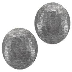 John Iversen Large Oval Pebble Oxidized Sterling Silver Stud Earrings