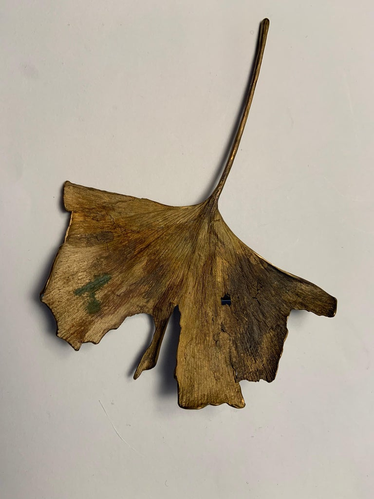 John Iversen Patinated Bronze Gingko Leaf Brooch In Excellent Condition For Sale In New Hope, PA