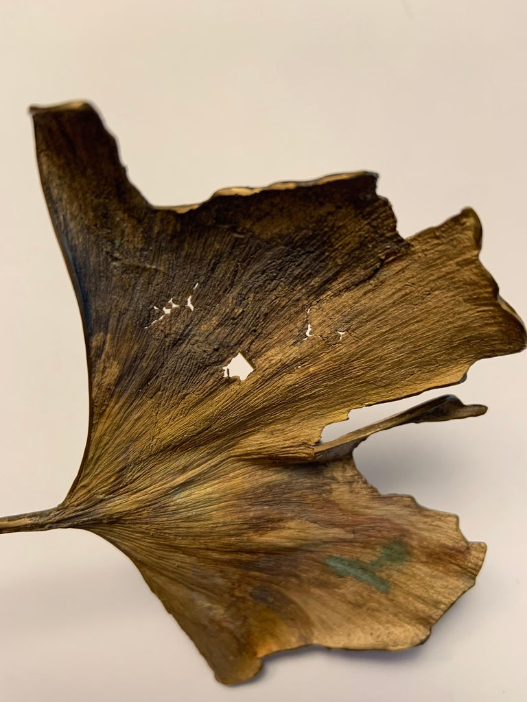 John Iversen Patinated Bronze Gingko Leaf Brooch For Sale 1
