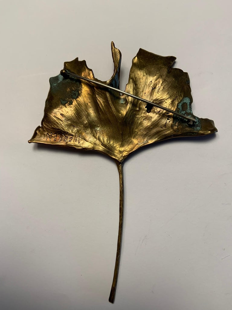 John Iversen Patinated Bronze Gingko Leaf Brooch For Sale 2