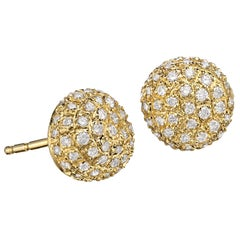 John Iversen White Diamond Gold Pebble Stud Earrings