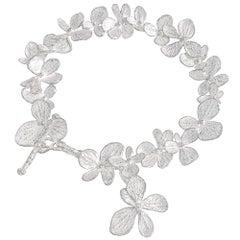 John Iversen White Sterling Silver Hydrangea Petals Bracelet