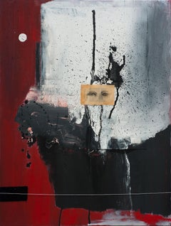Eyes of the Prince, red, black and grey abstract mixed media painting