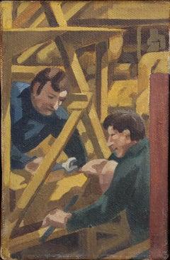 Men Working on a Concrete Crushing Machine