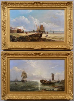 19th Century pair of marine oil paintings of a beach at Dover & shipping boats