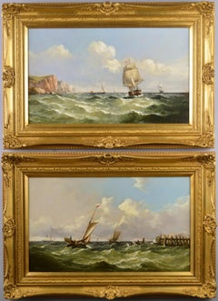 19th Century pair of marine oil paintings of shipping near Dover