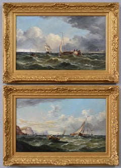 19th Century pair of marine oil paintings of shipping off South Foreland