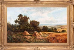 Large, British 19th Century oil painting of Harvest time