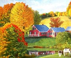 Farmhouse Reflections, Original Painting