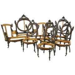 John Jelliff, Ebonized Parlor Set, Victorian, Revival Parlor Set, 1800s
