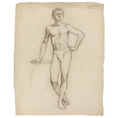 John Joseph Owens Male Nude Figure Study, 1909, Charcoal on Paper, Signed, Dated