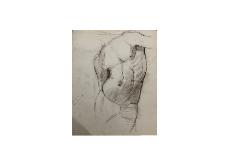 Neoclassical John Joseph Owens Model Nude Figural Study, Torso, 1909, Charcoal and Ink, Paper For Sale