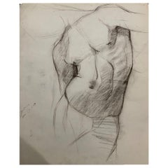John Joseph Owens Model Nude Figural Study, Torso, 1909, Charcoal and Ink, Paper