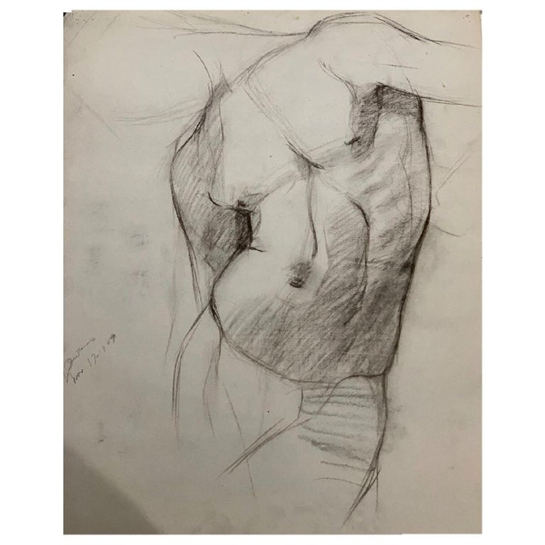 John Joseph Owens Model Nude Figural Study, Torso, 1909, Charcoal and Ink, Paper For Sale