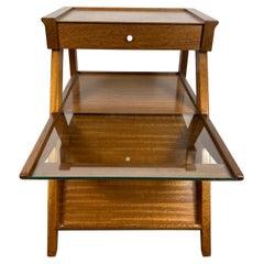 John Keal / Brown Saltman Side, Magazine Table with Drawer