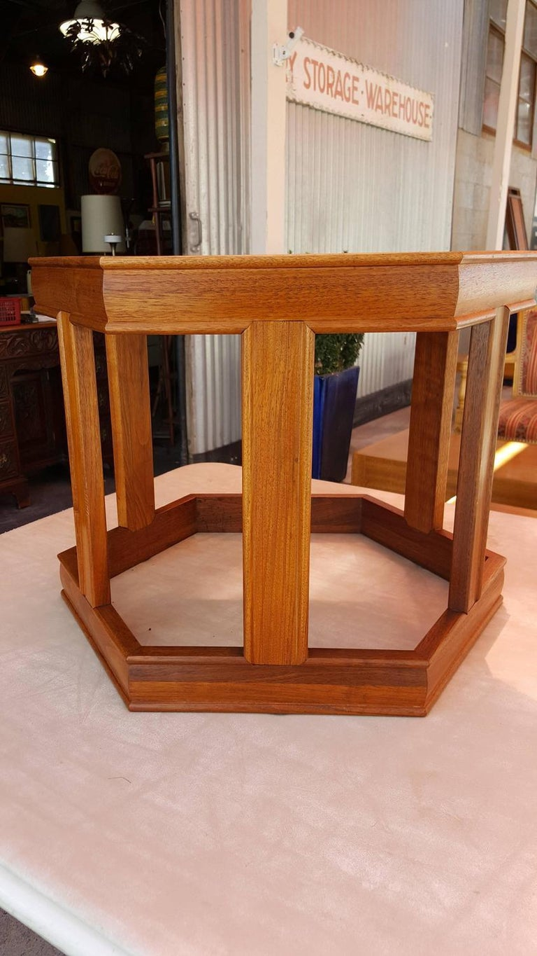 1970s solid walnut hexagonal end table with glass inset top. Designed by John Keal for Brown Saltman, California. Very nice original finish and condition. Retains brown saltman paper label.