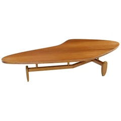 "John Keal for Brown-Saltman Biomorphic Mahogany ""Outrigger"" Coffee Table, 1952"