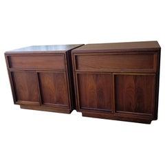 John Keal for Brown Saltman Crisp Modern Walnut Nightstands Small Cabinets 1960s
