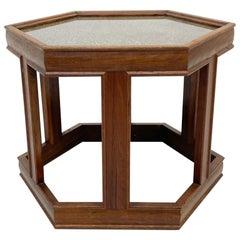 John Keal for Brown Saltman Hexagon Walnut Side Table with Glass Enamel 1960s