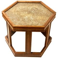 John Keal for Brown Saltman Hexagonal Granulated Top and Glass End Table