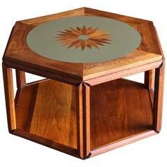 John Keal for Brown Saltman Hexagonal Occasional Table with Sunburst Inlay