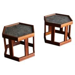 John Keal for Brown Saltman Hexagonal Side Tables for Brown Saltman, circa 1960