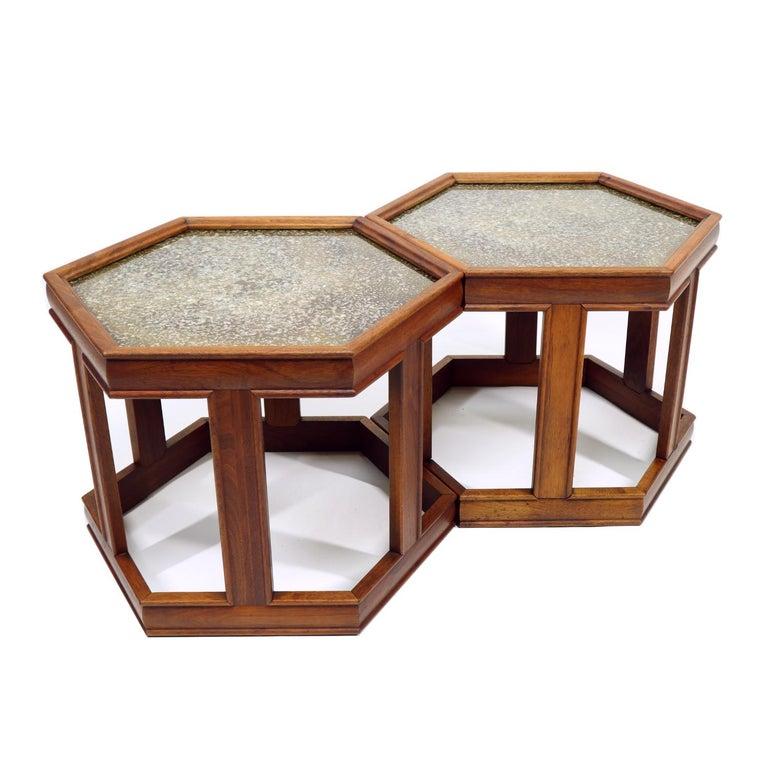 Mid-Century Modern John Keal for Brown Saltman Hexagonal Walnut Enamel Side Tables For Sale