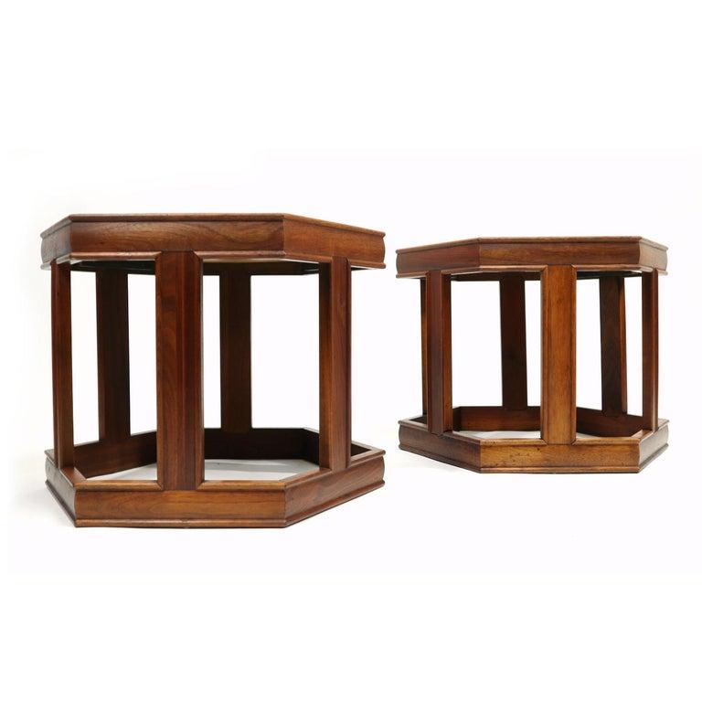 American John Keal for Brown Saltman Hexagonal Walnut Enamel Side Tables For Sale