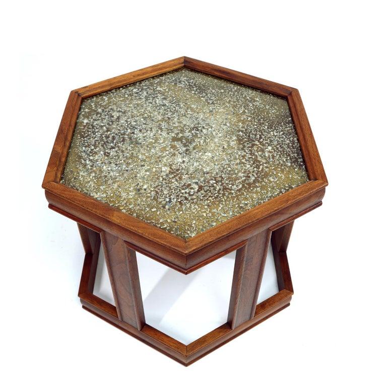 John Keal for Brown Saltman Hexagonal Walnut Enamel Side Tables In Excellent Condition For Sale In Saint Petersburg, FL